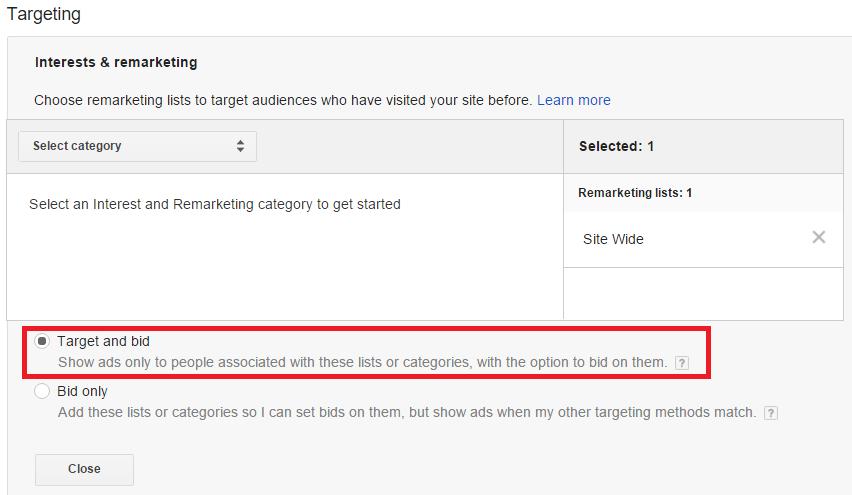 Настройки за Target & Bid в Ремаркетингова кампания в Search мрежата на Google
