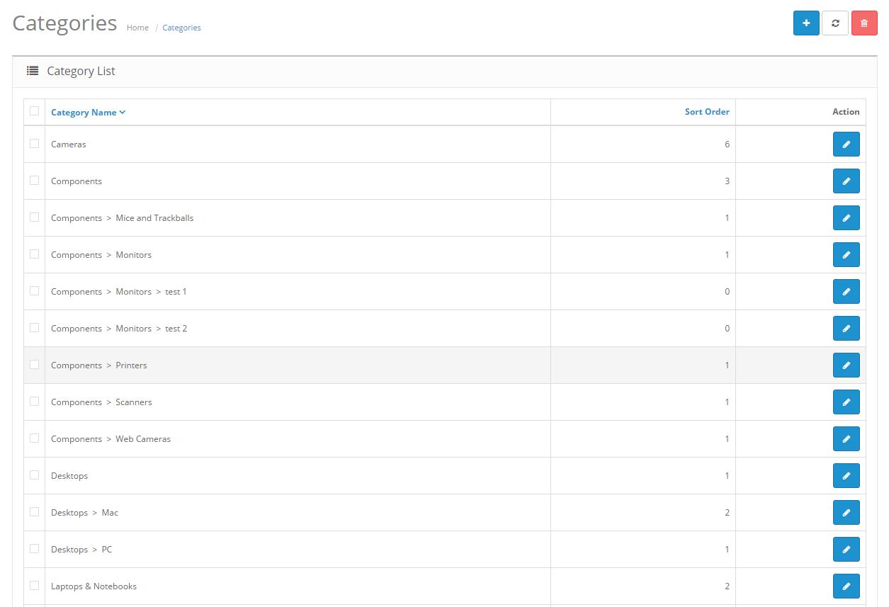 Работа с и настройване на категориите в OpenCart сайт